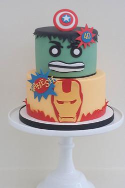 hulk iron man vegan cake