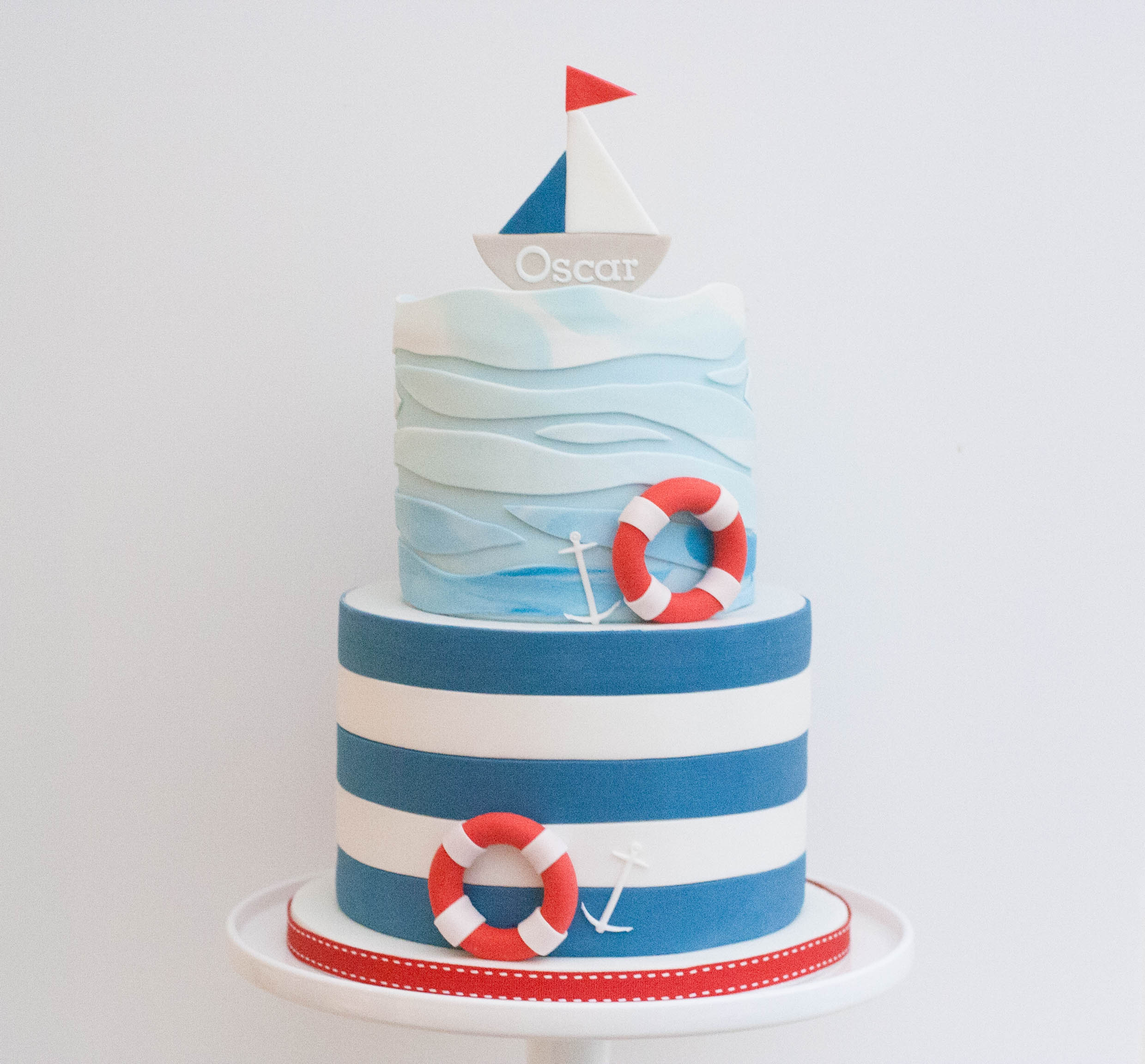 christening cake boat and waves vegan