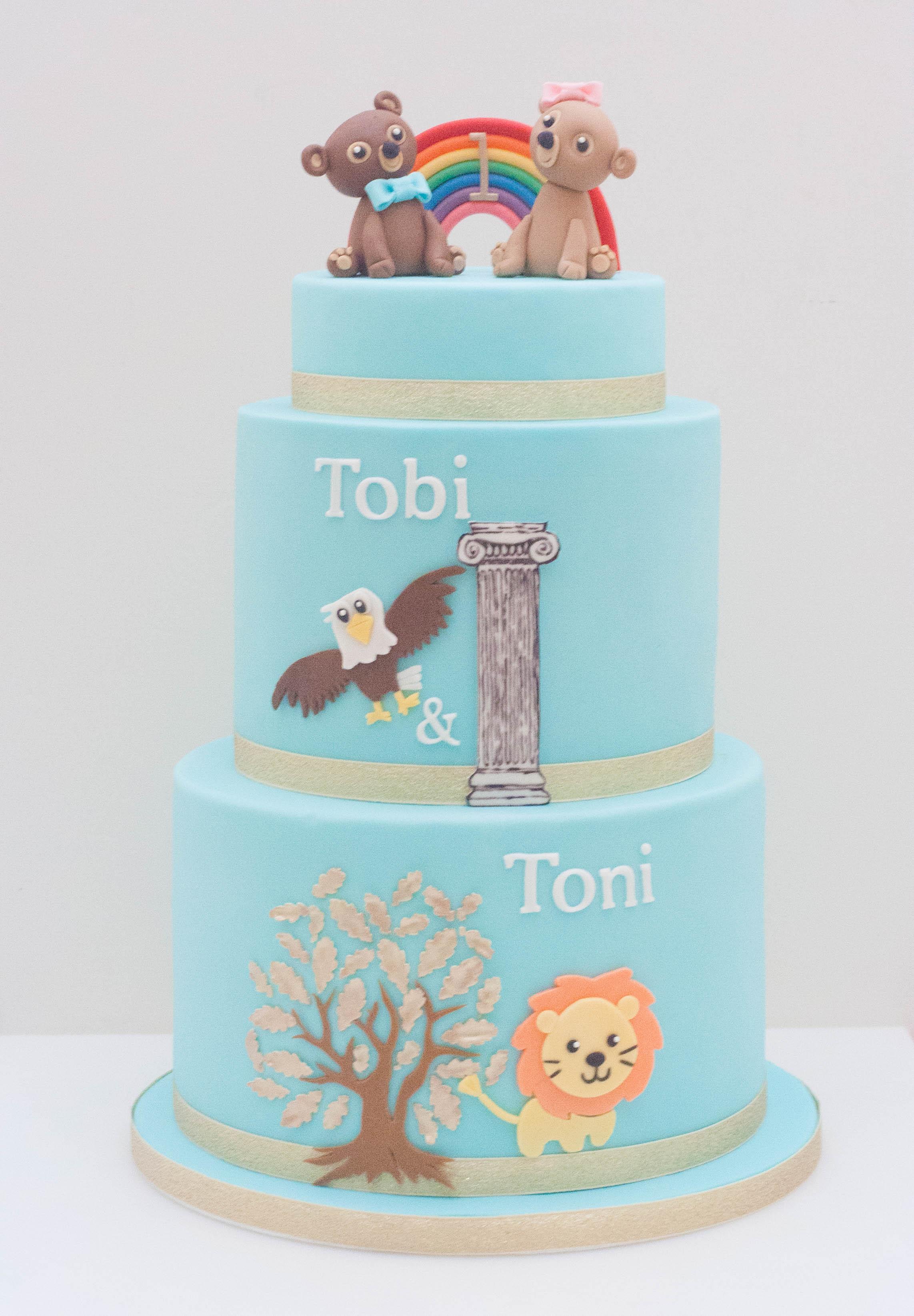 teal twin bears three tier cake vegan