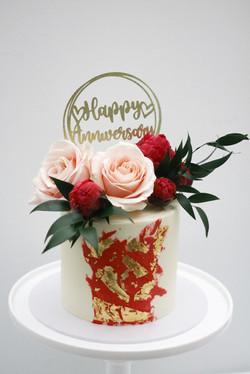 anniversary topper fresh flowers white