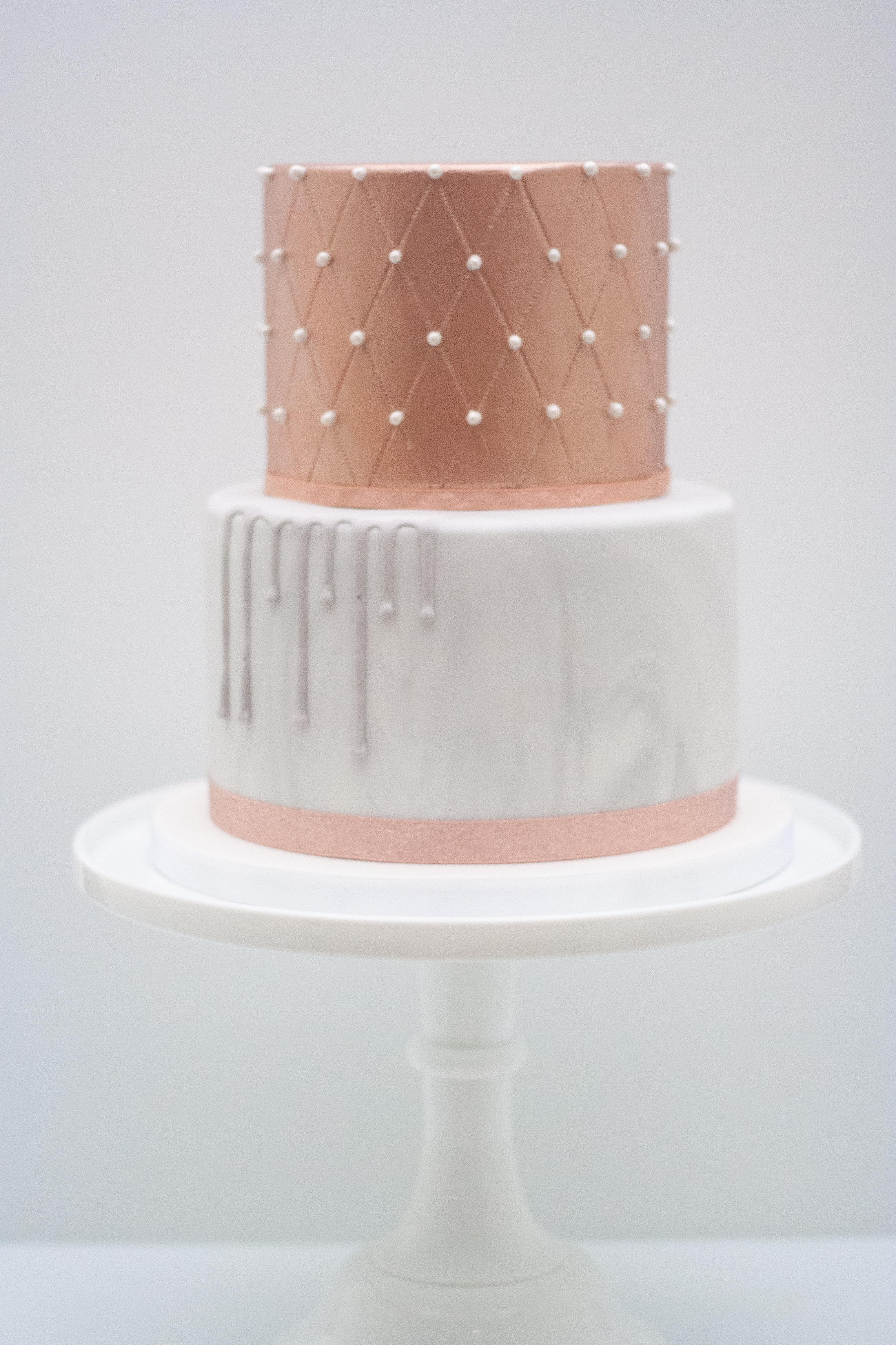 two tier rose gold quilted marbled_