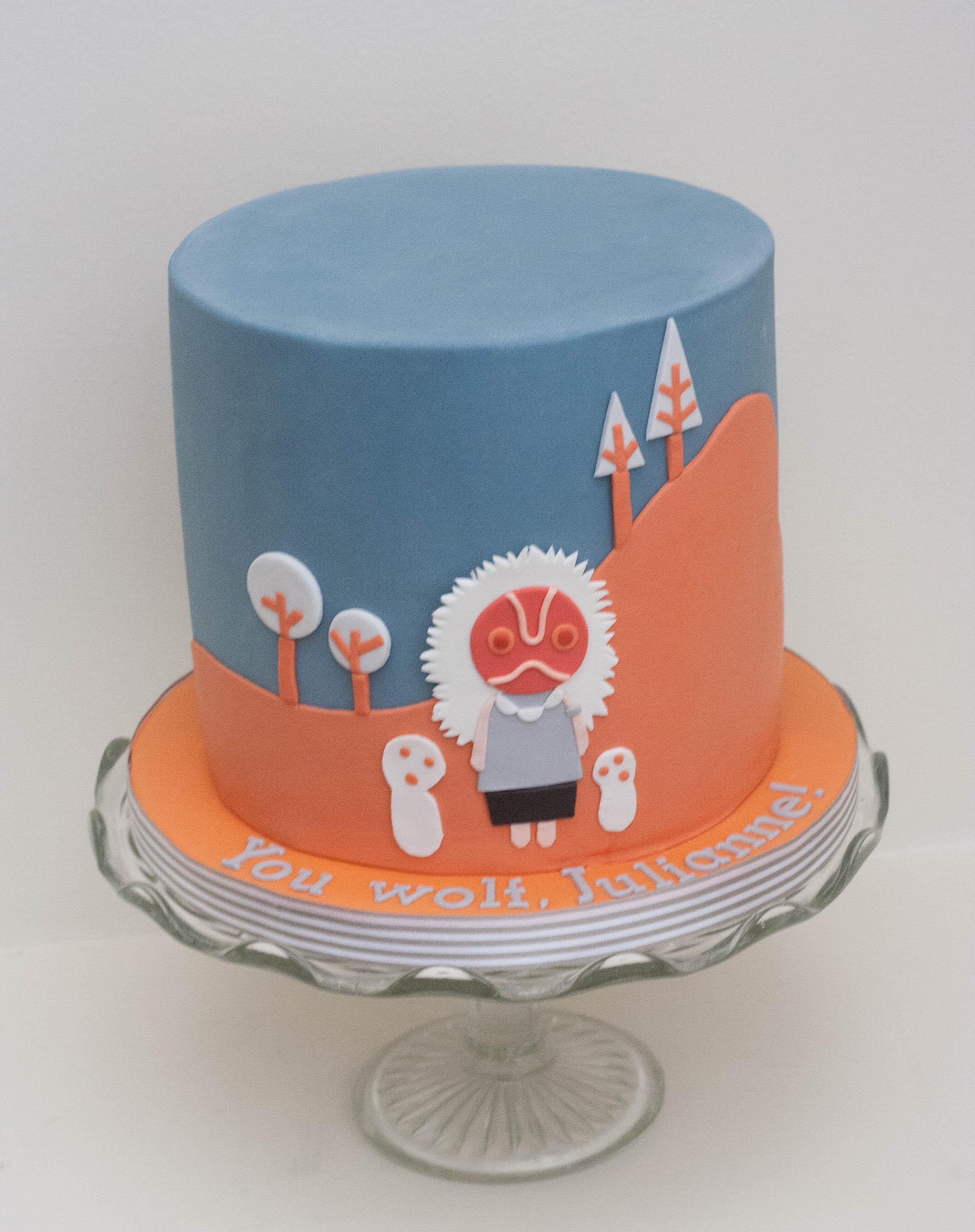 Princess Mononoke cake vegan gf