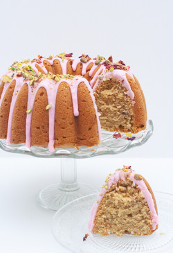 rose cardamom pistachio bundt cake