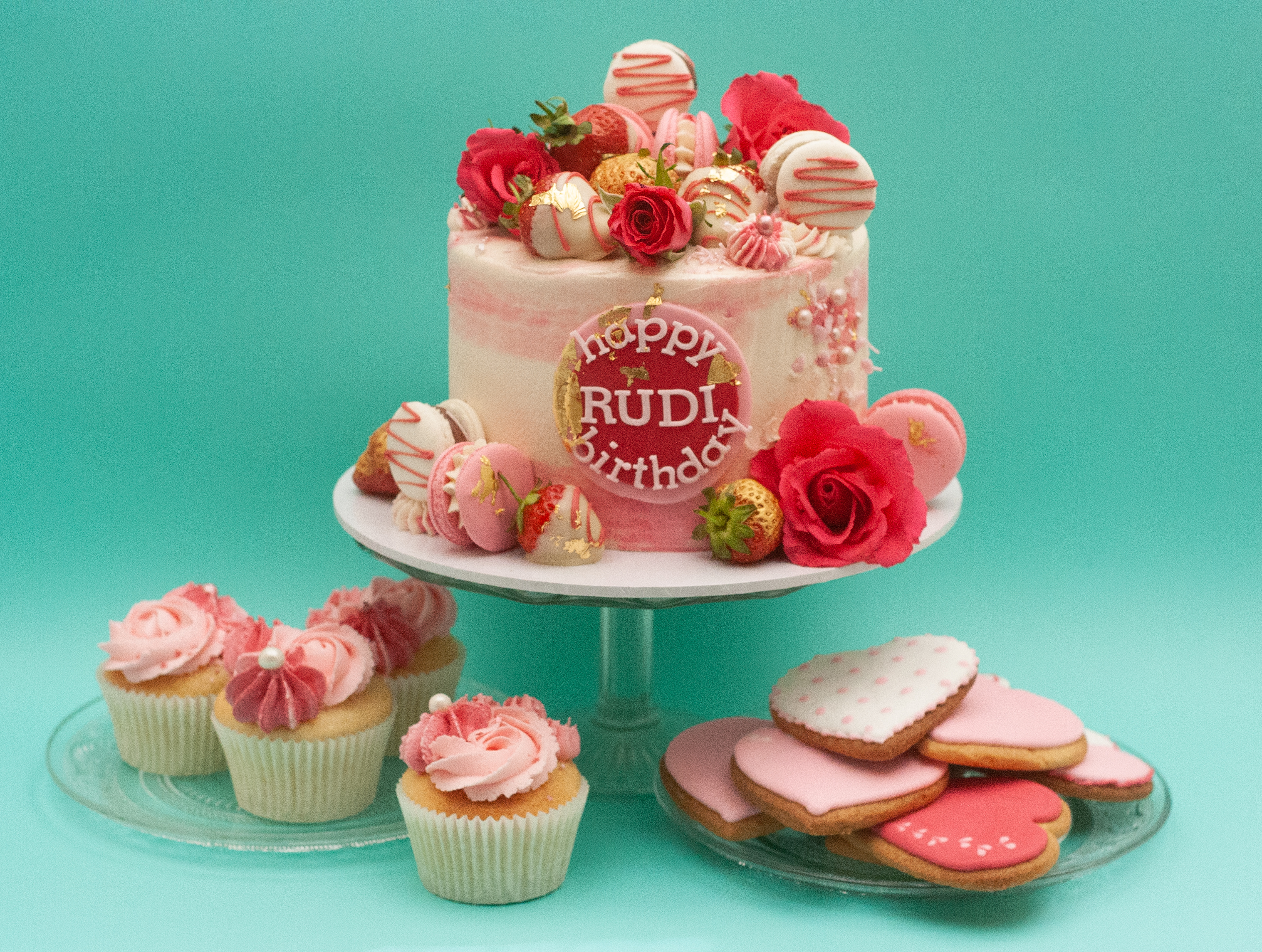 pink watercolour cake matching cookies a