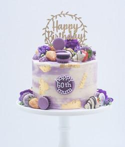 purple gold watercolour cake macarons li