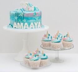 unicorn turquoise cake cupcakes vegan