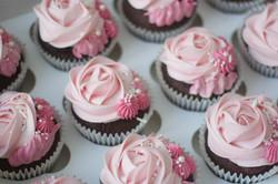 rose pink christening cupcakes vegan