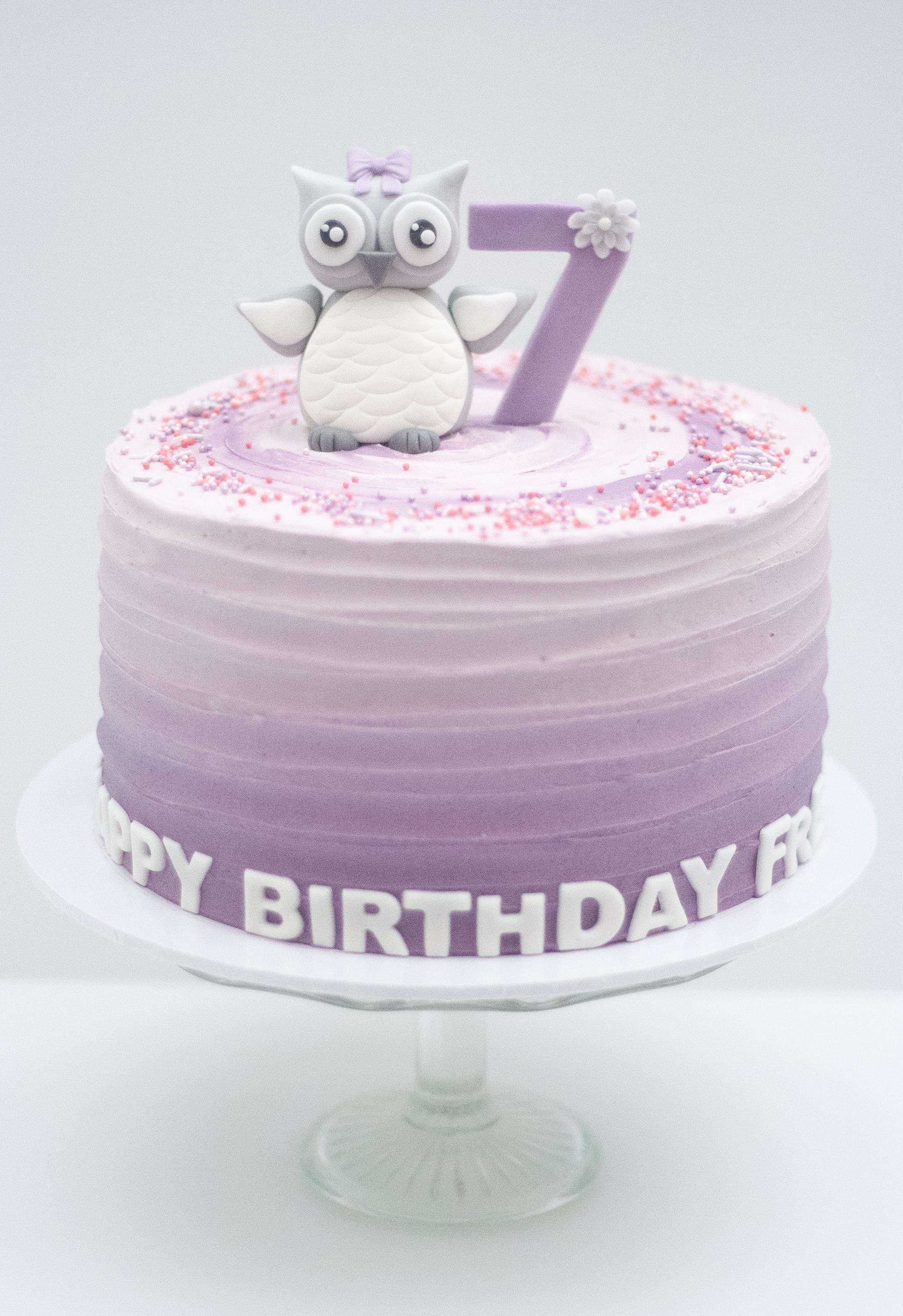 purple ombre snowy owl cake