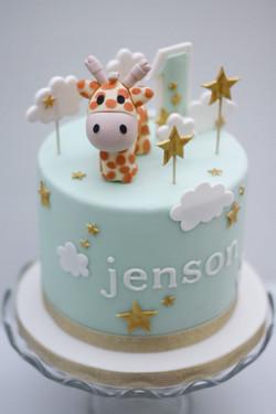 giraffe stars clouds first birthday cake