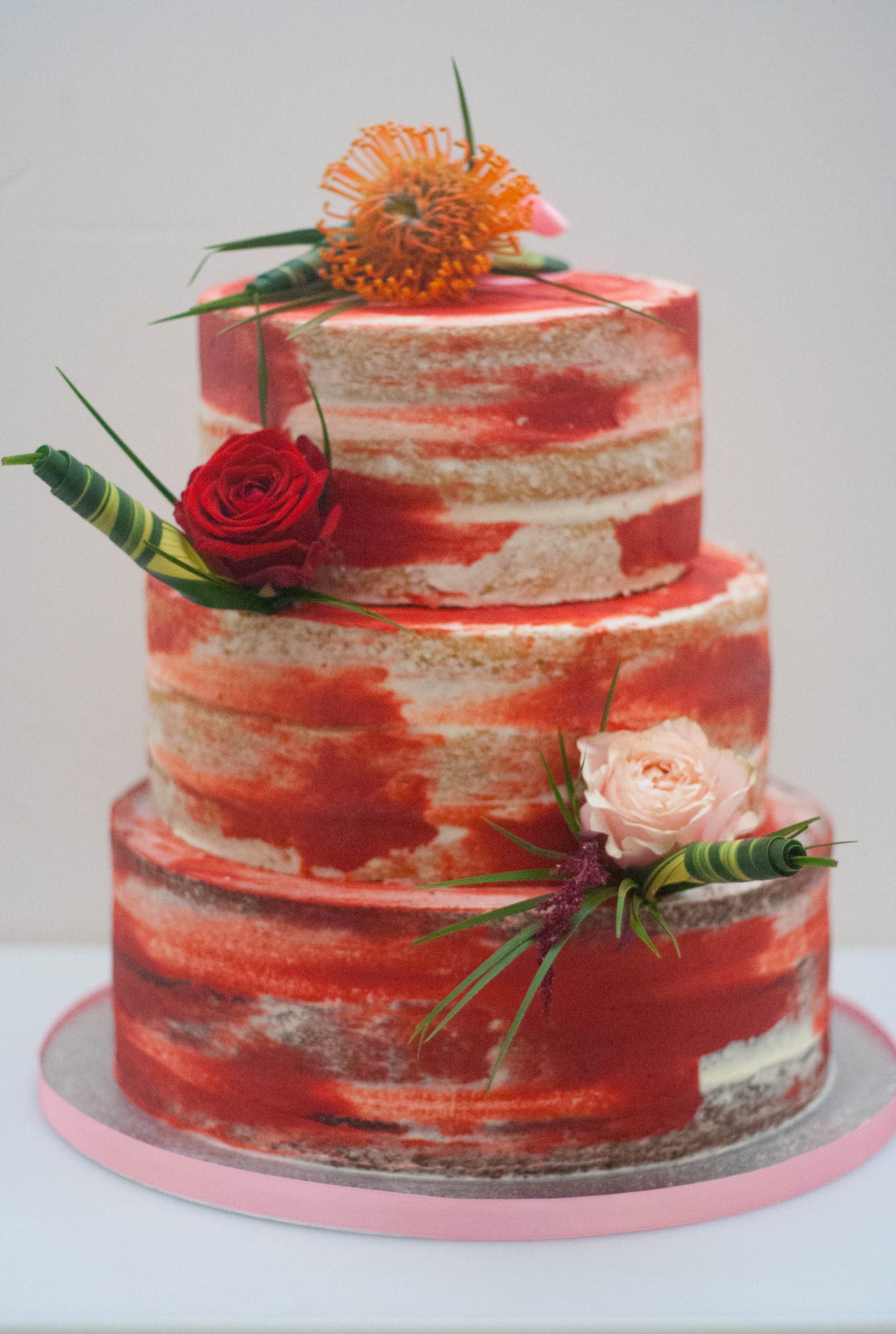 three tier tropical flower wedding cake