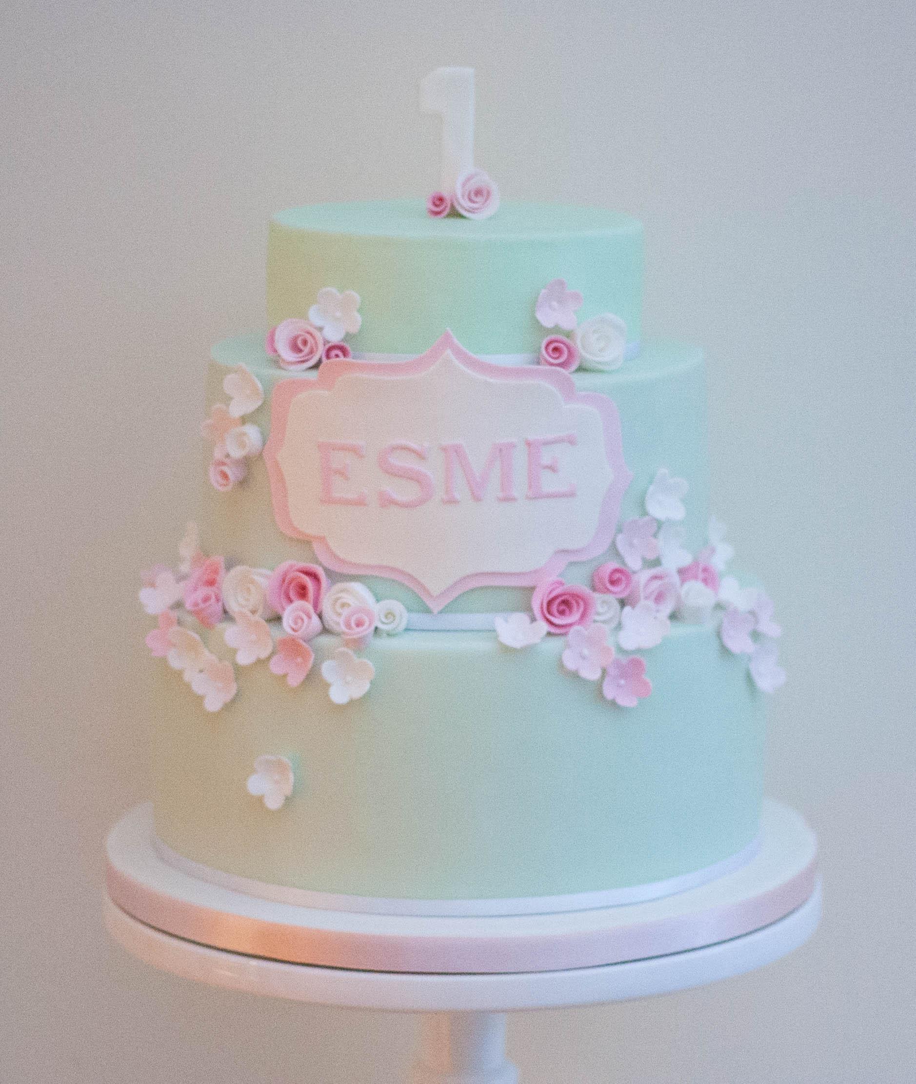 mint green pink flowers vegan cake