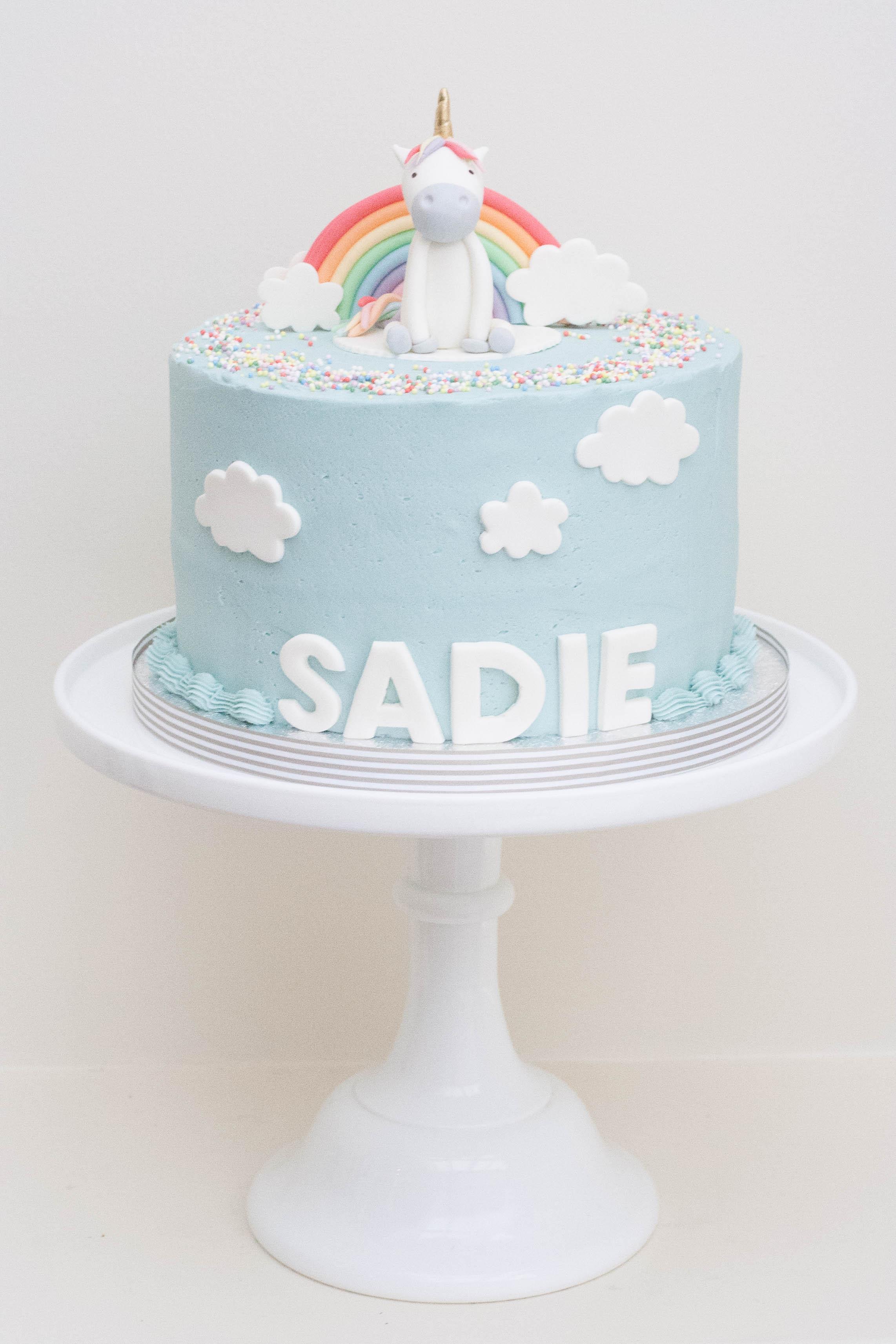 blue frosted unicorn cake vegan soy free