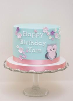 owl birthday cake vegan