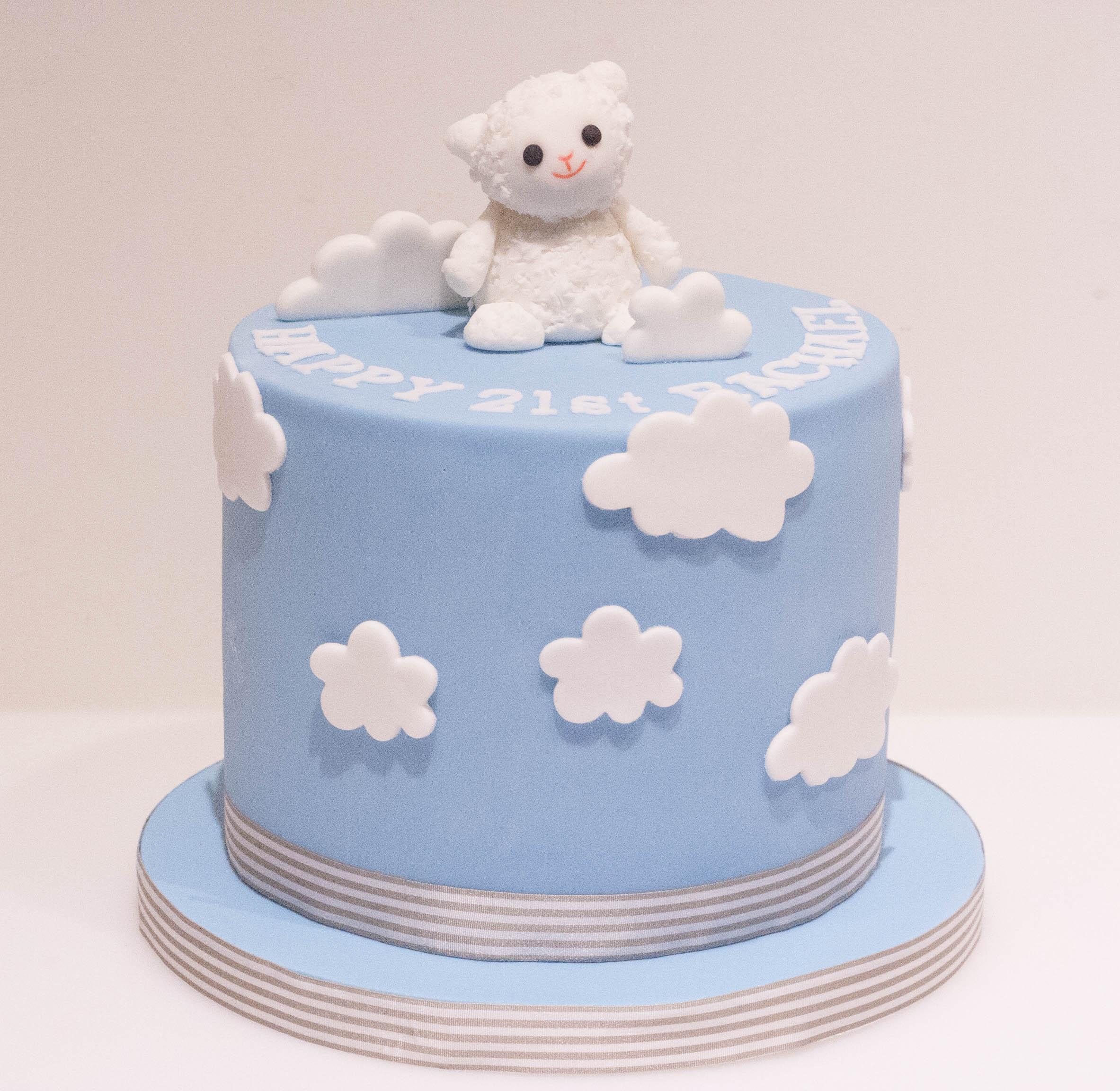 sheep toy vegan cake