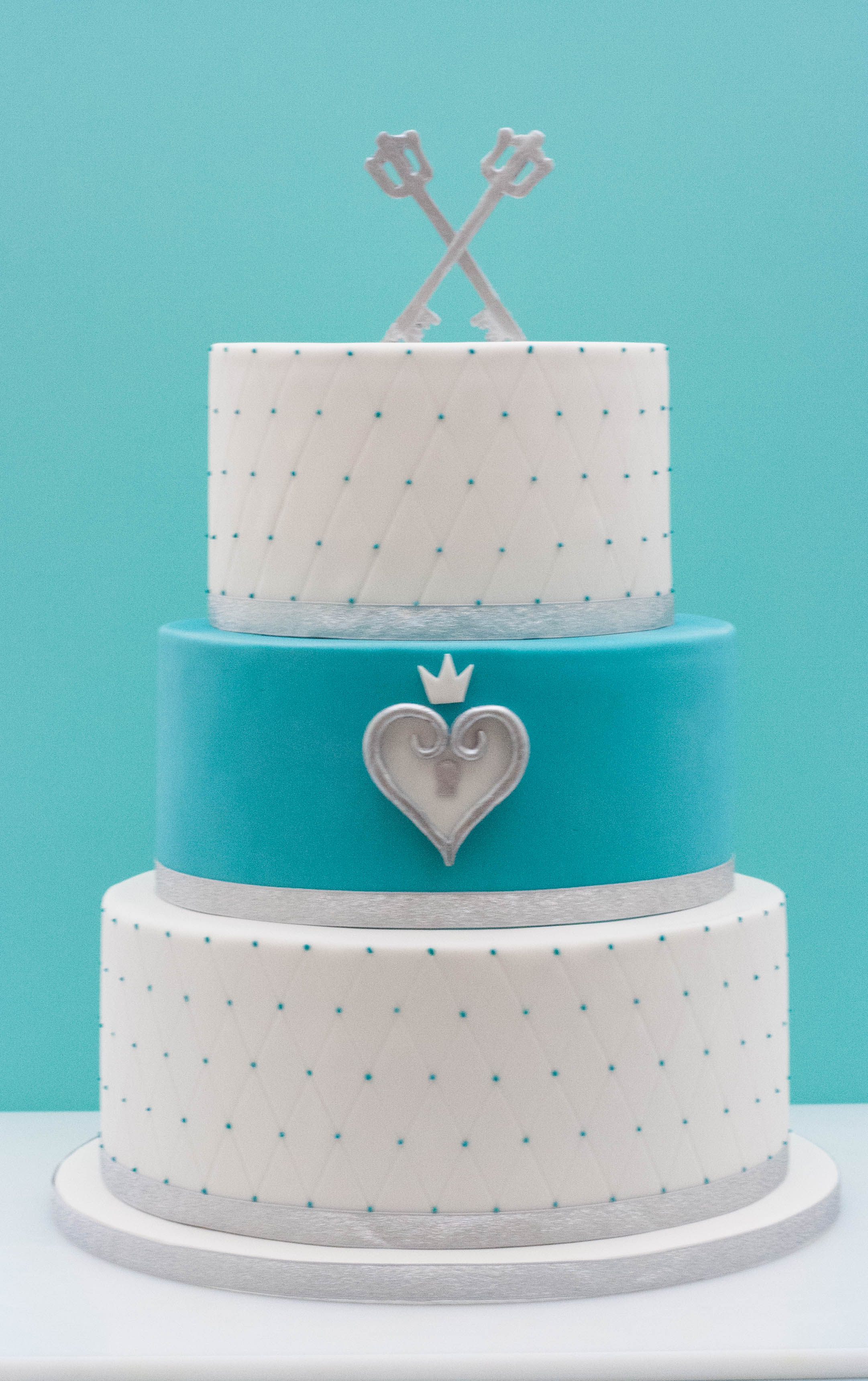 silver teal vegan wedding cake keyblades