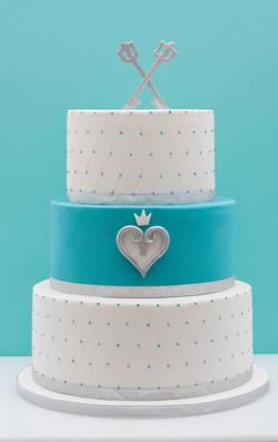 silver teal vegan wedding cake keyblades