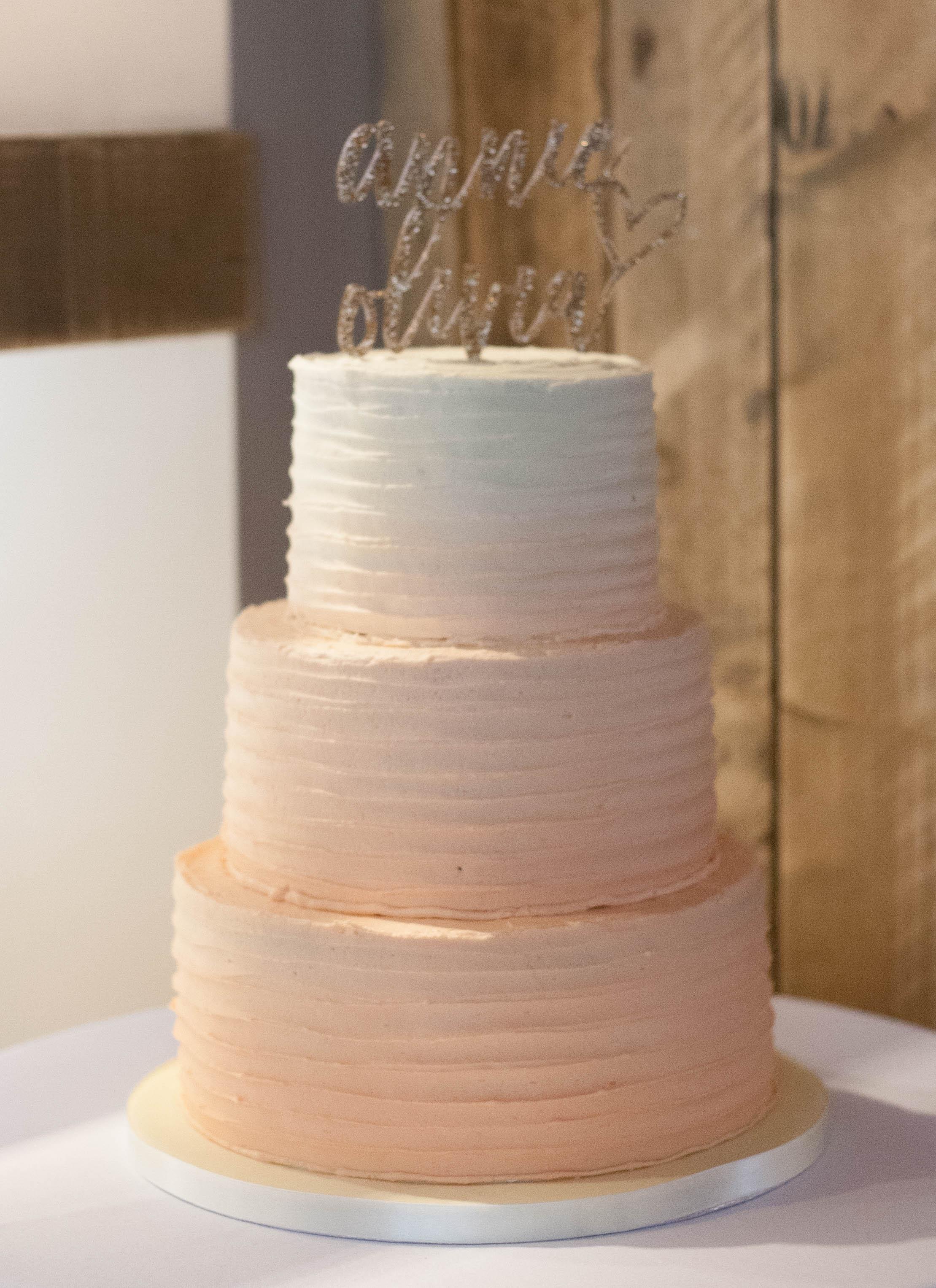 three tier peach ombre cake vegan