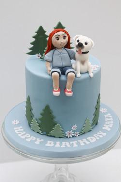 girl and her dog cake