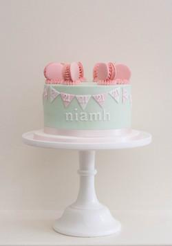 21st pastel vegan cake bunting macarons