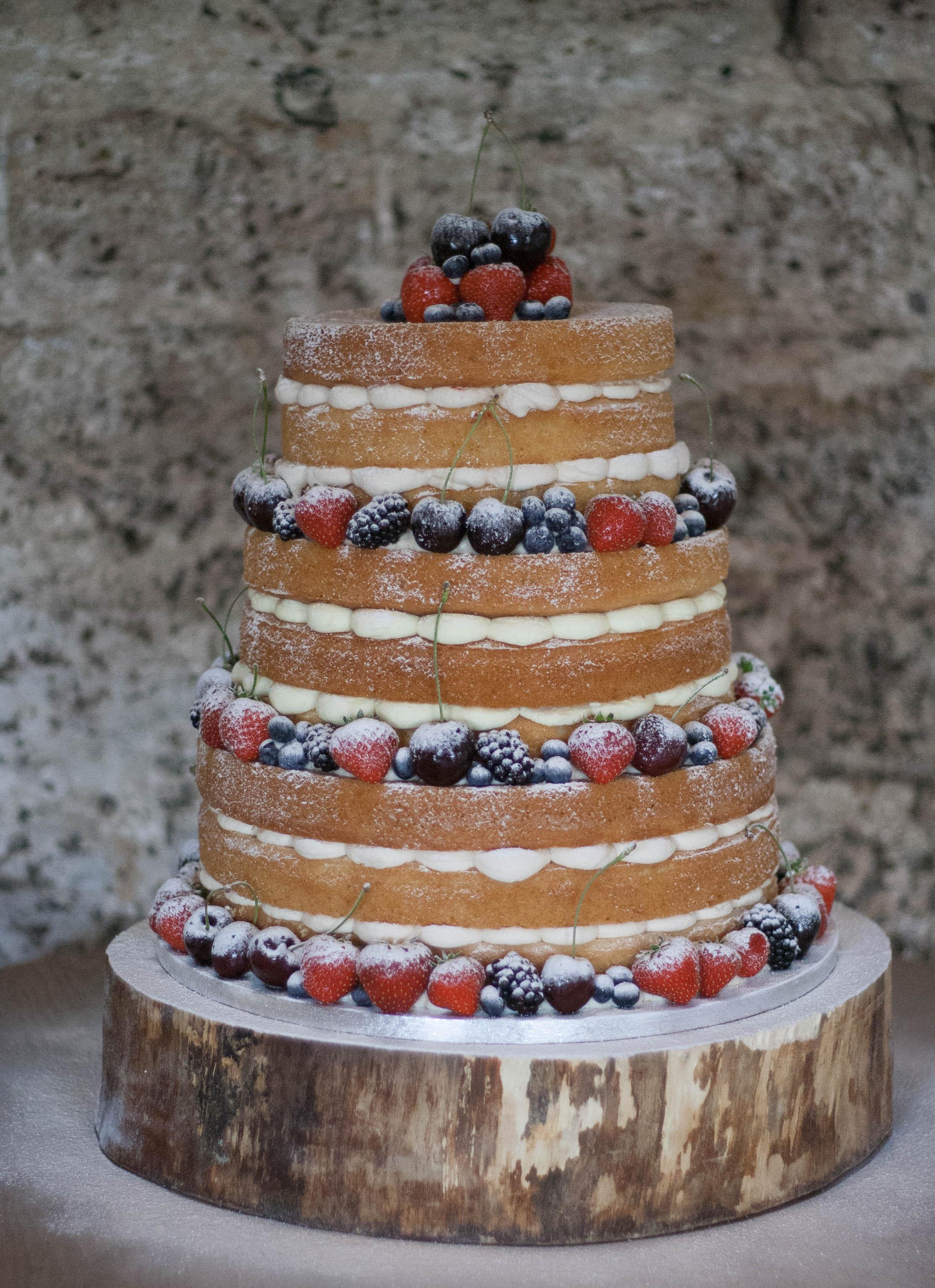 naked vegan wedding cake