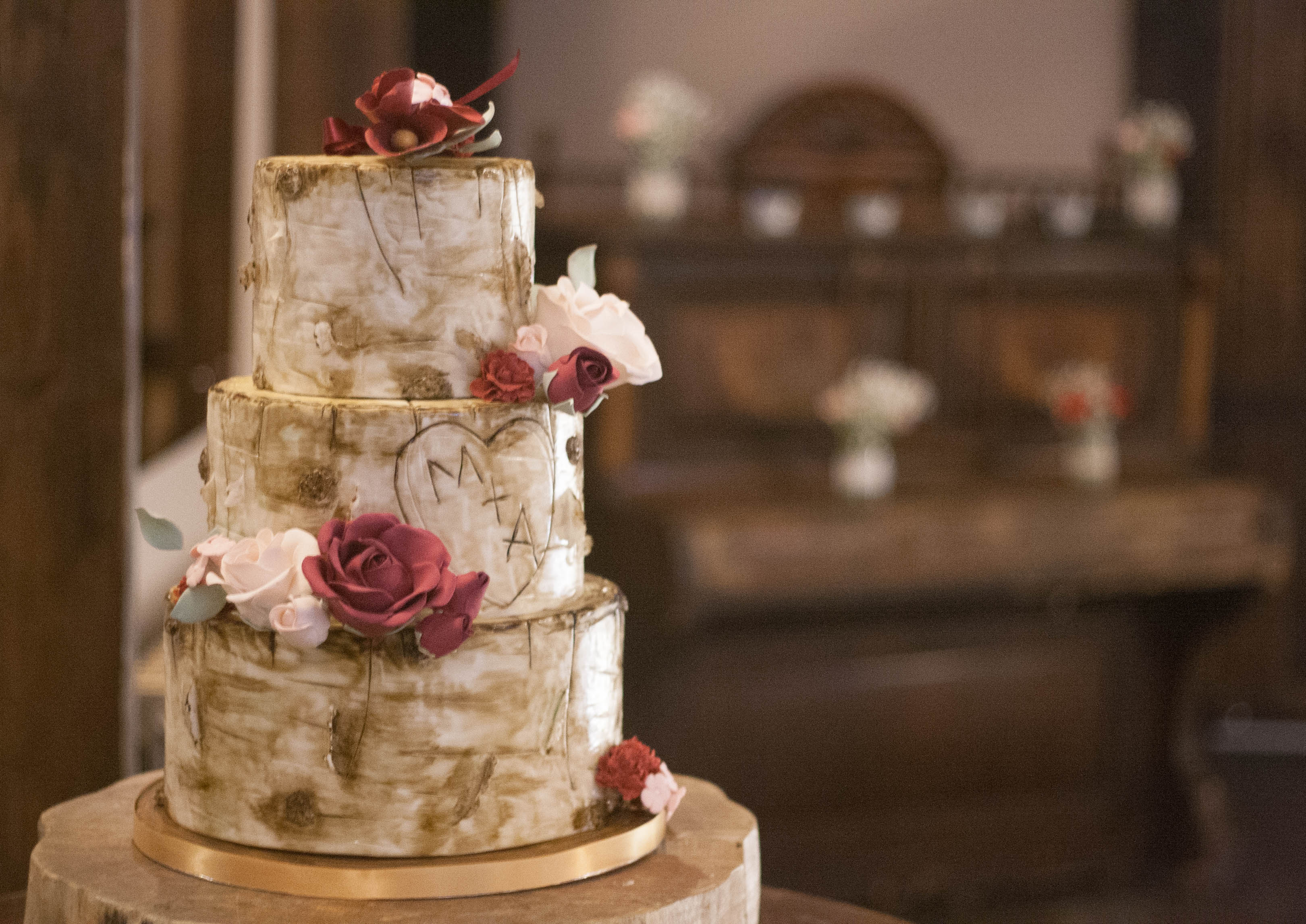 birch tree vegan wedding cake