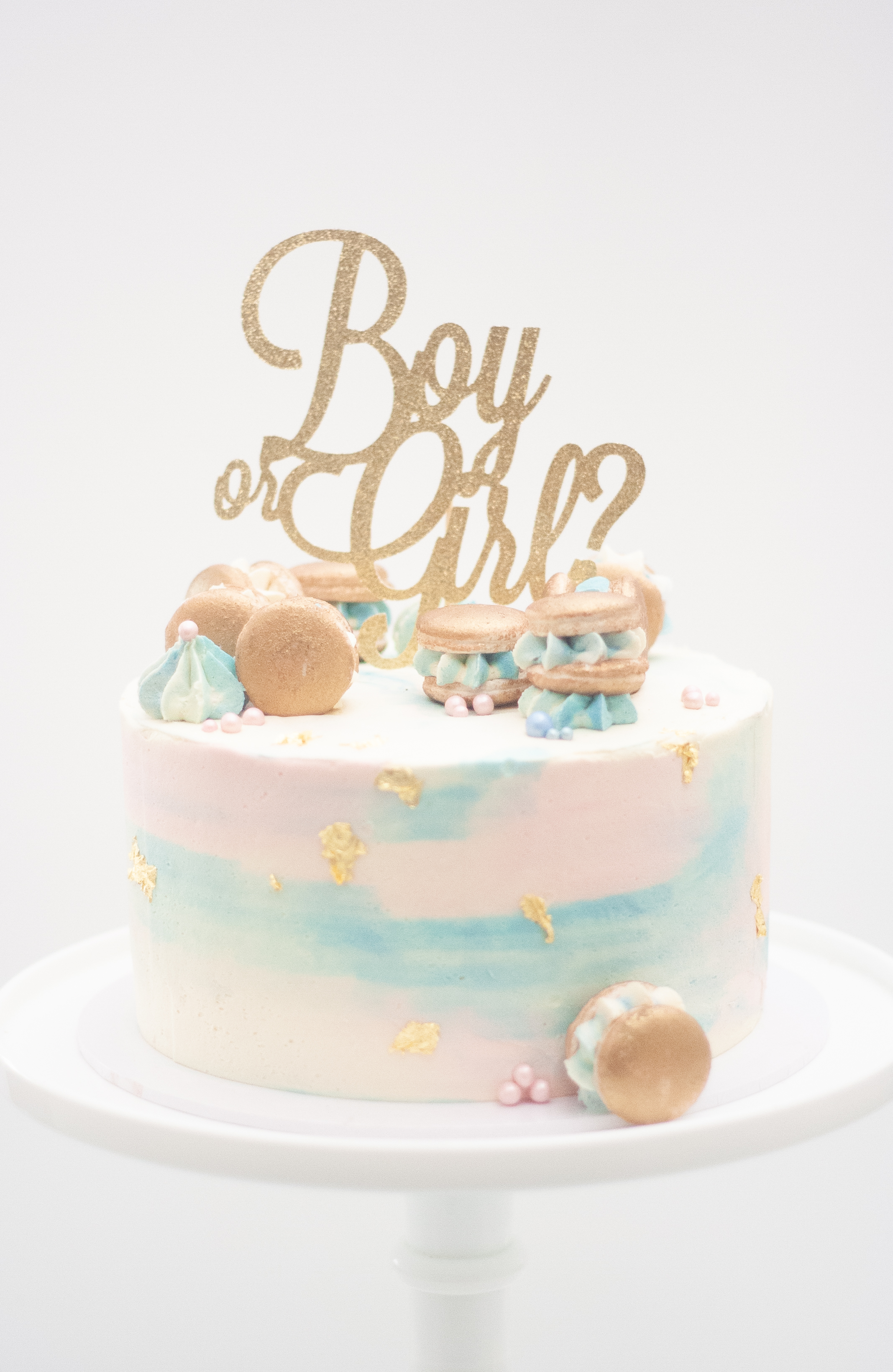 boy or girl gender reveal gold macarons_