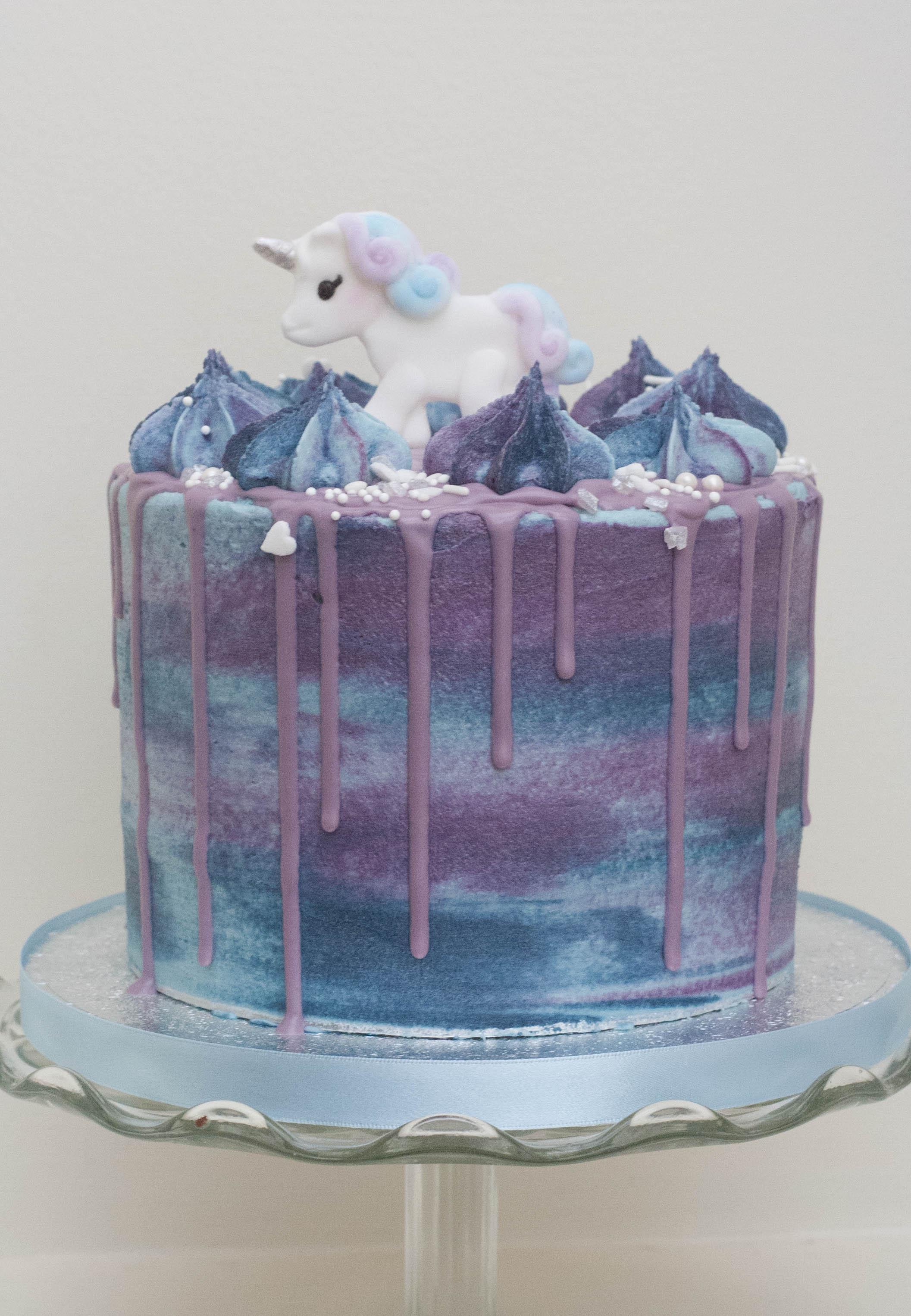 unicorn purple blue frosted vegan cake