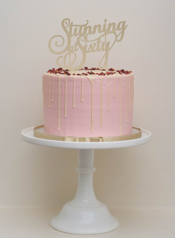 frosted pink vegan cake gold glitter topper