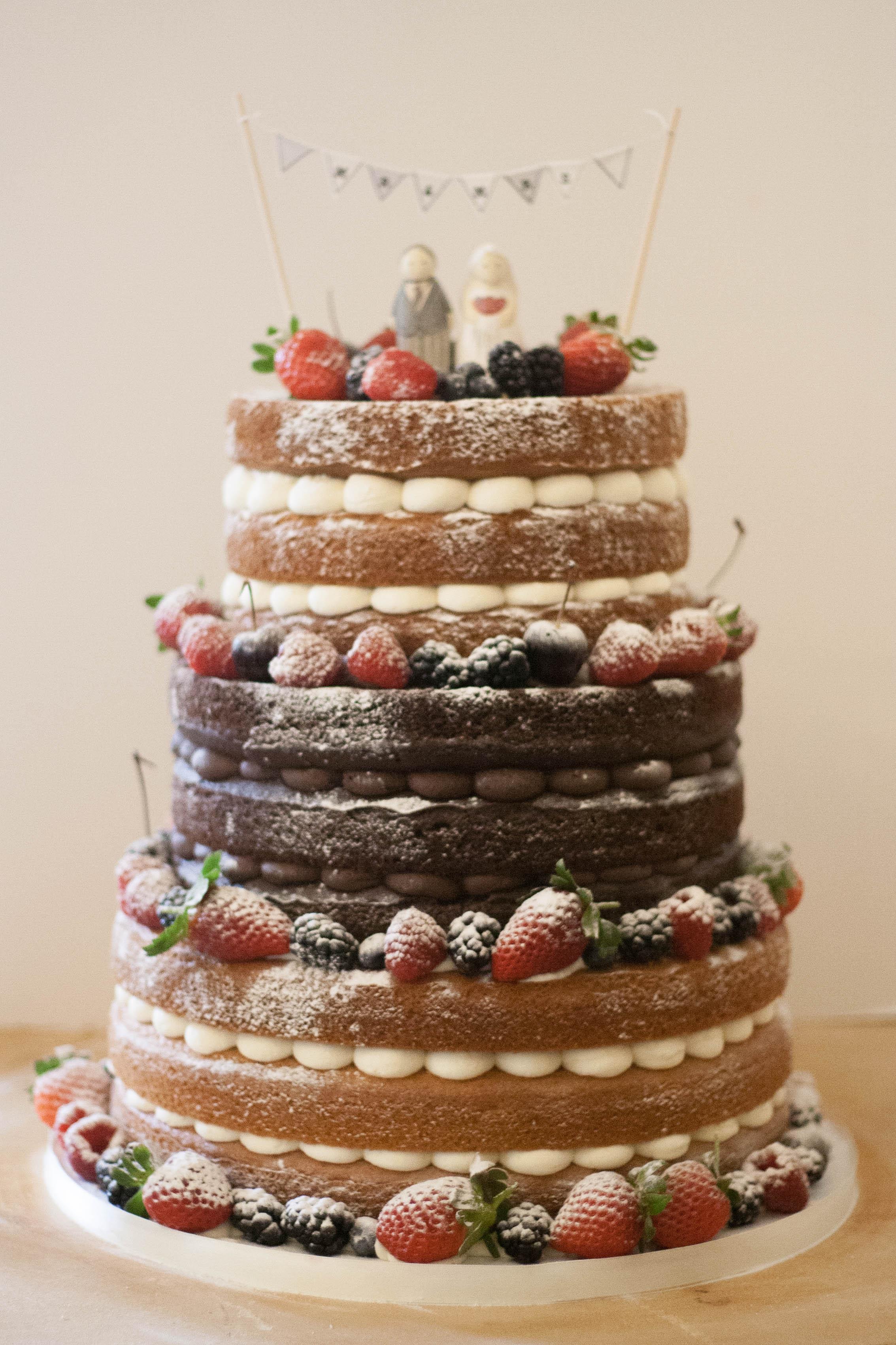 vegan naked wedding cake bunting