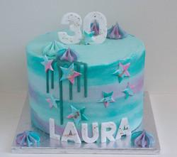 turquoise pink watercolour vegan cake_