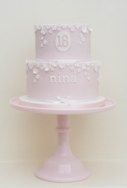 two tier pink blossom 18th vegan cake-2
