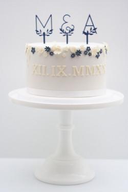 one tier wedding cake navy lemon blossom