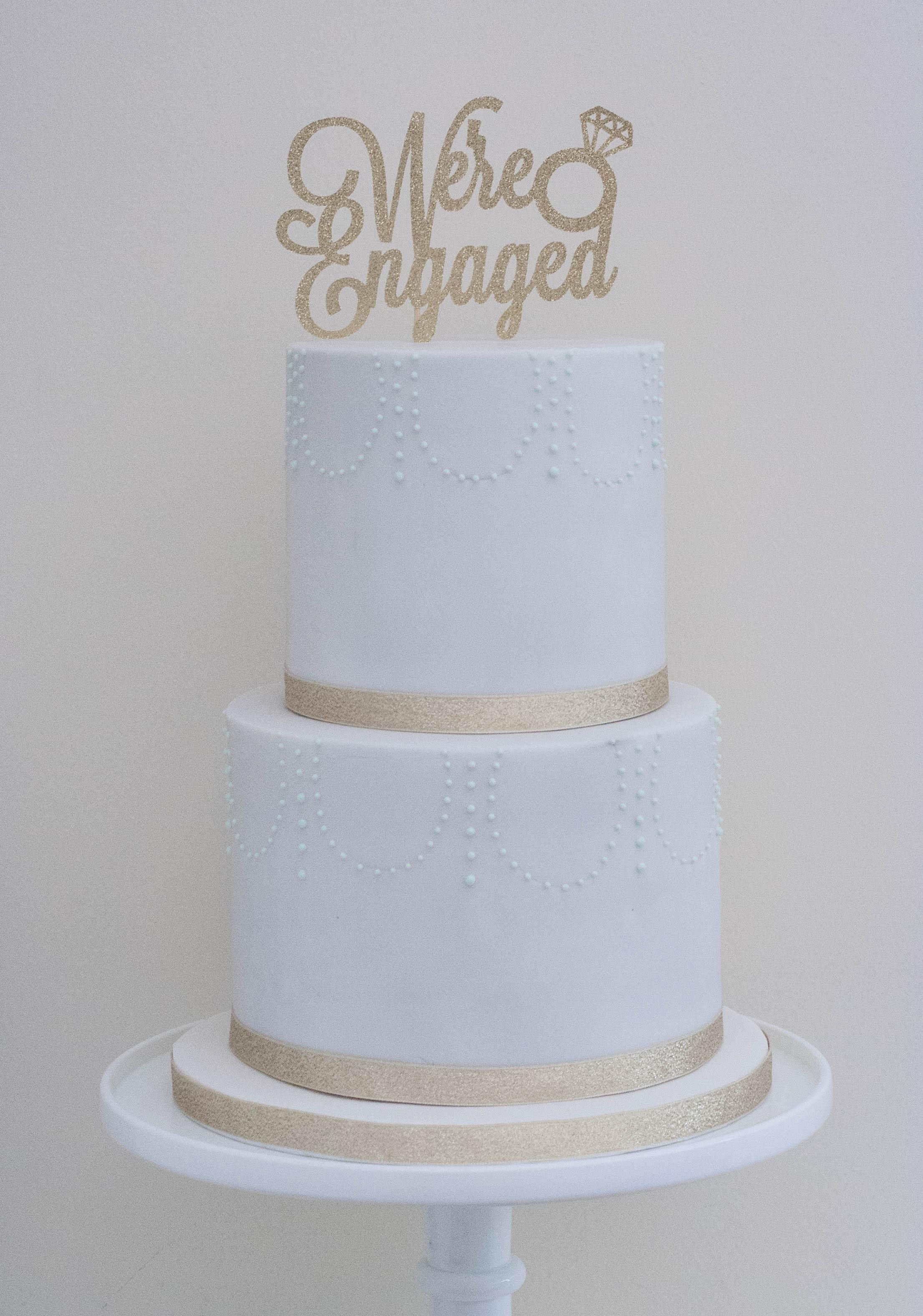 two tier engagement vegan cake