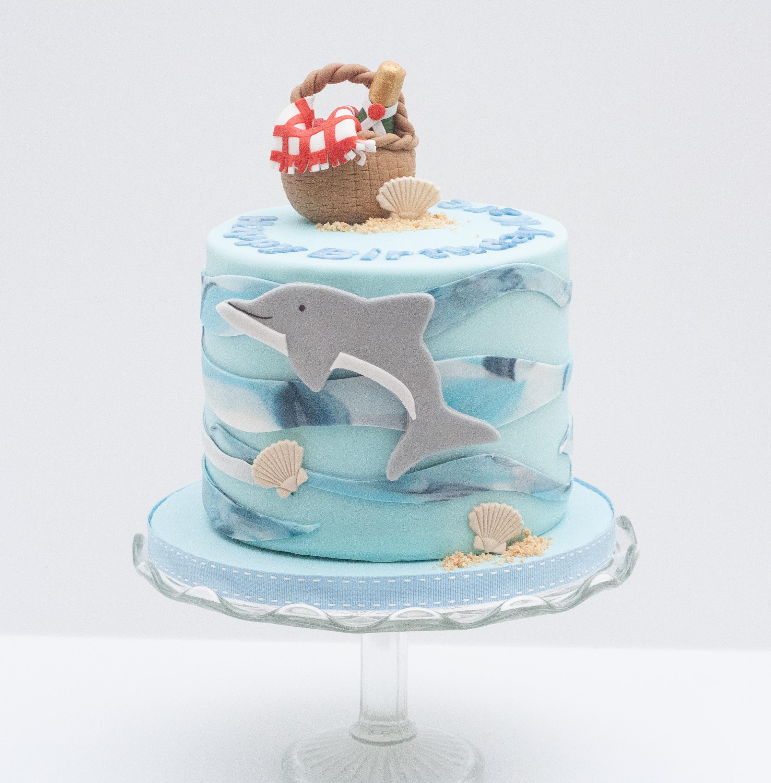 dolphin seaside beach picnic cake