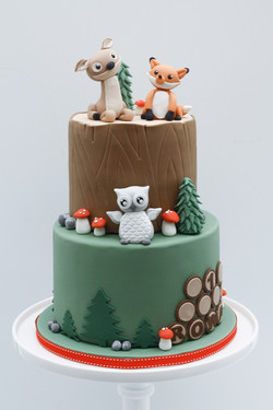 fox deer owl two tier