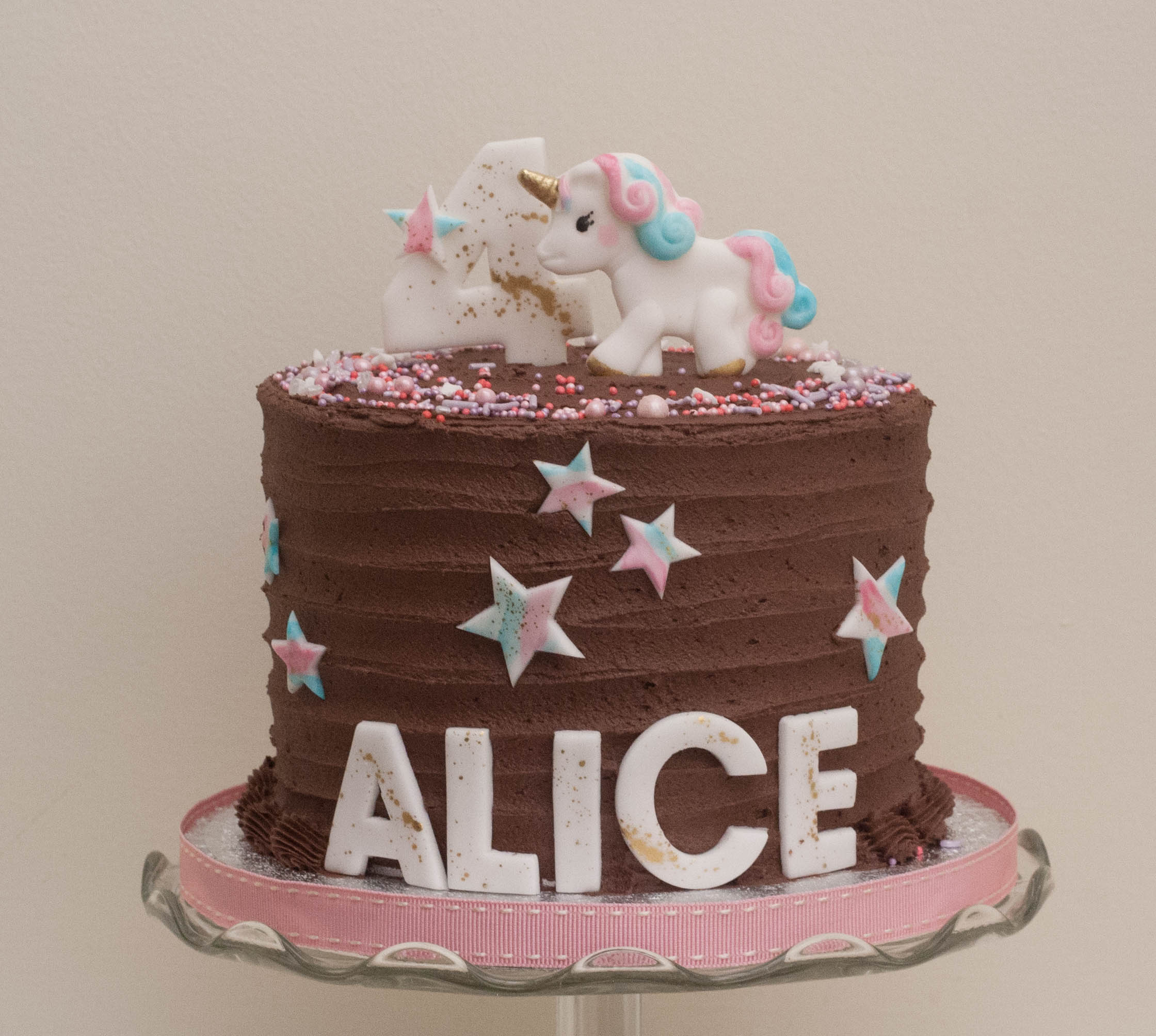 choc frosted unicorn cake vegan