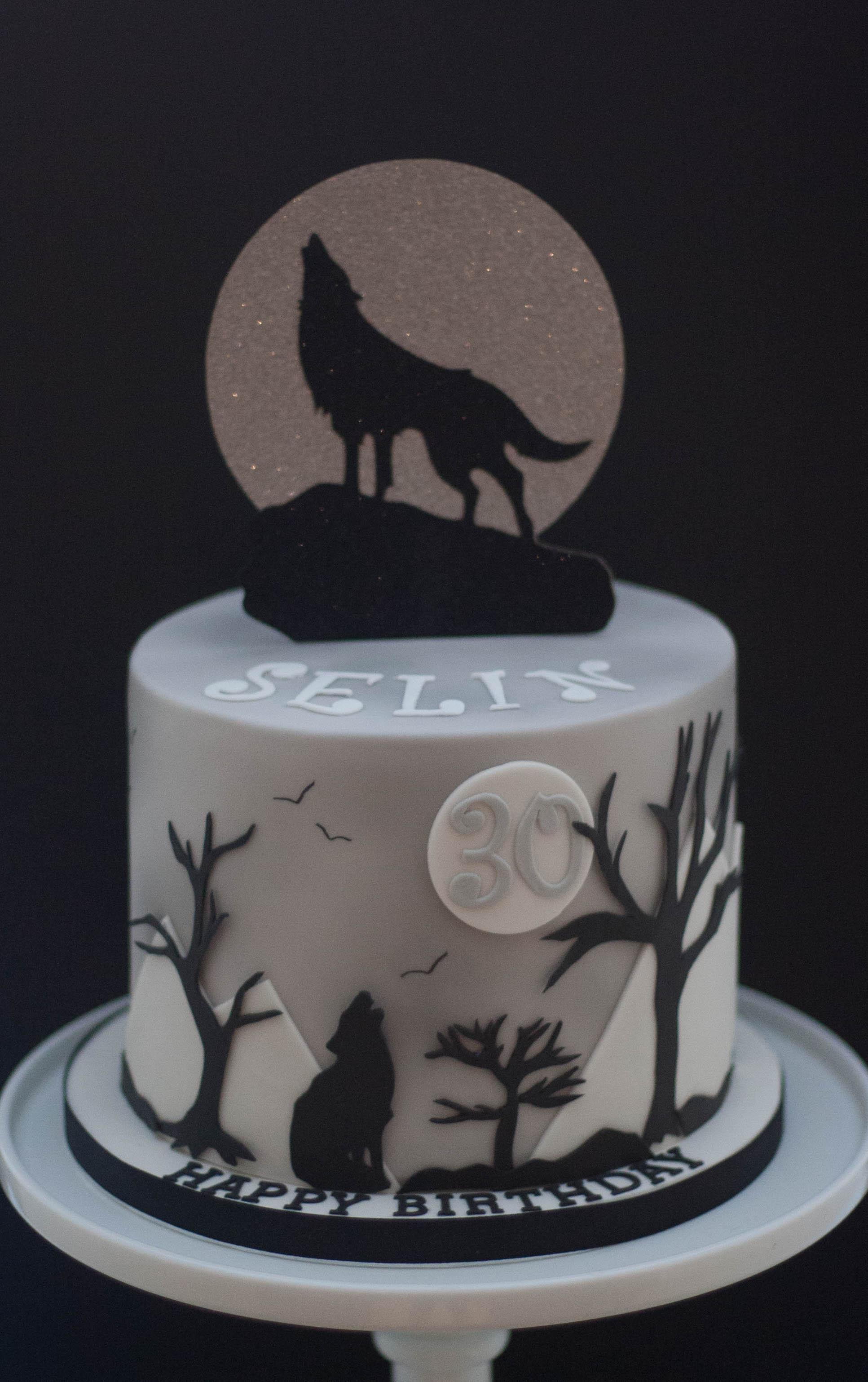 full moon wolf vegan cake