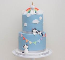 cat unicorn bunting cake vegan