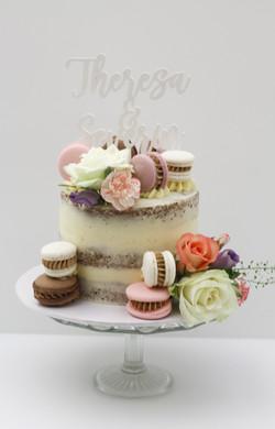 semi naked one tier wedding cake macaron