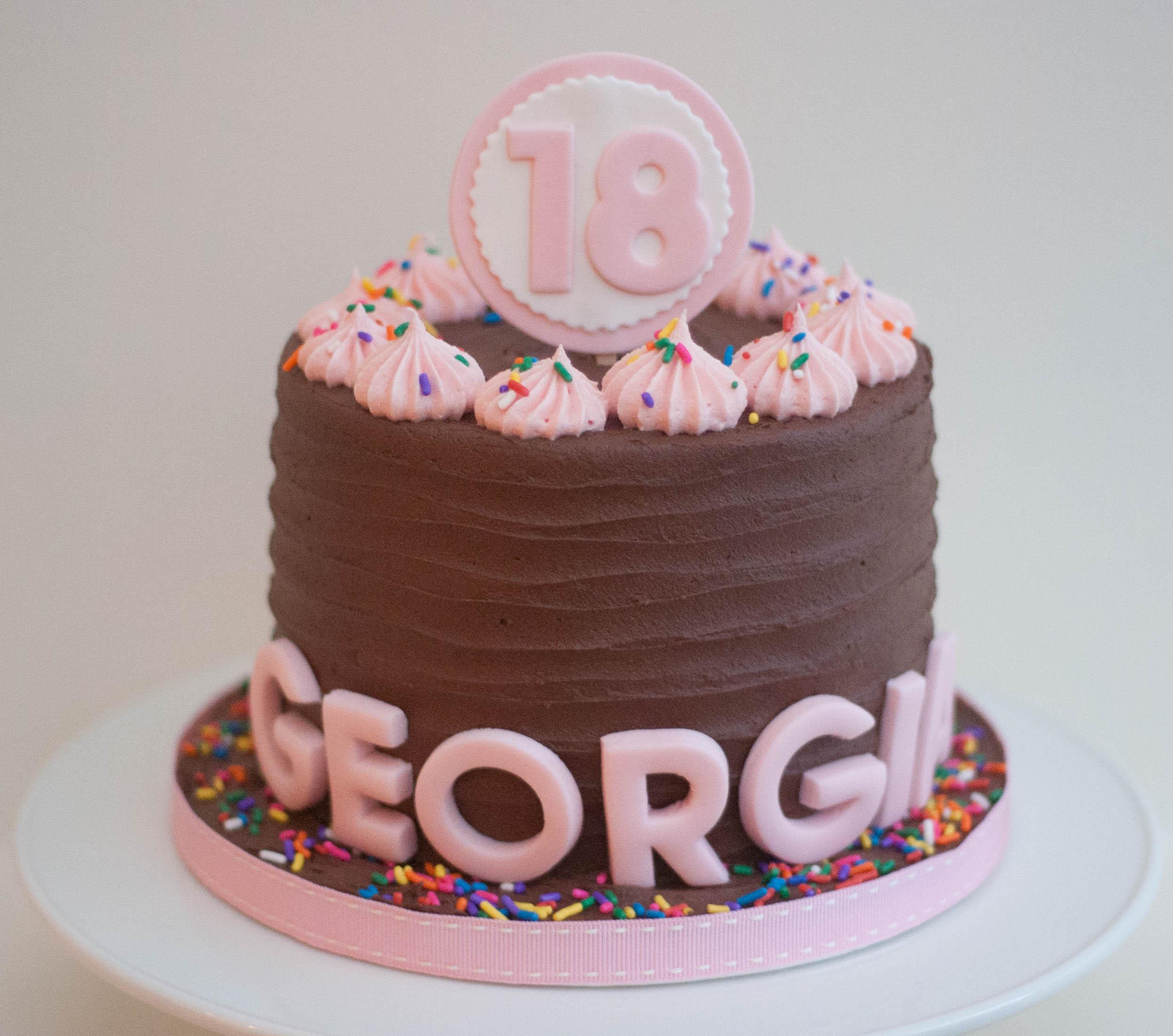 18th choc frosting funfetti vegan cake