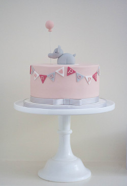 blush pink elephant christening cake vegan
