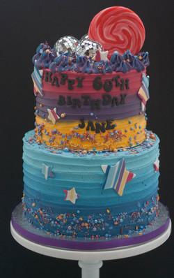 two tier disco cake vegan