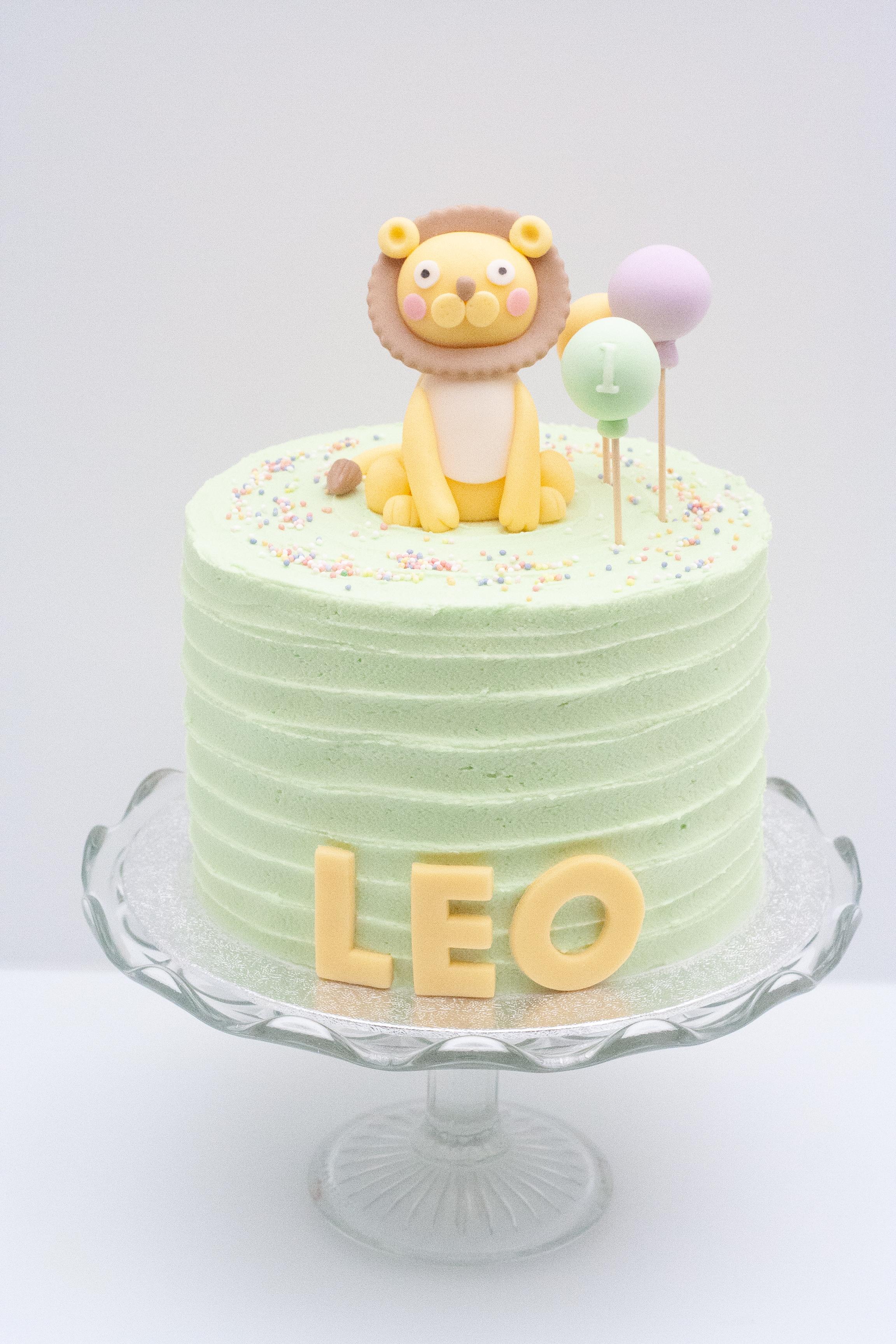lion balloons cake