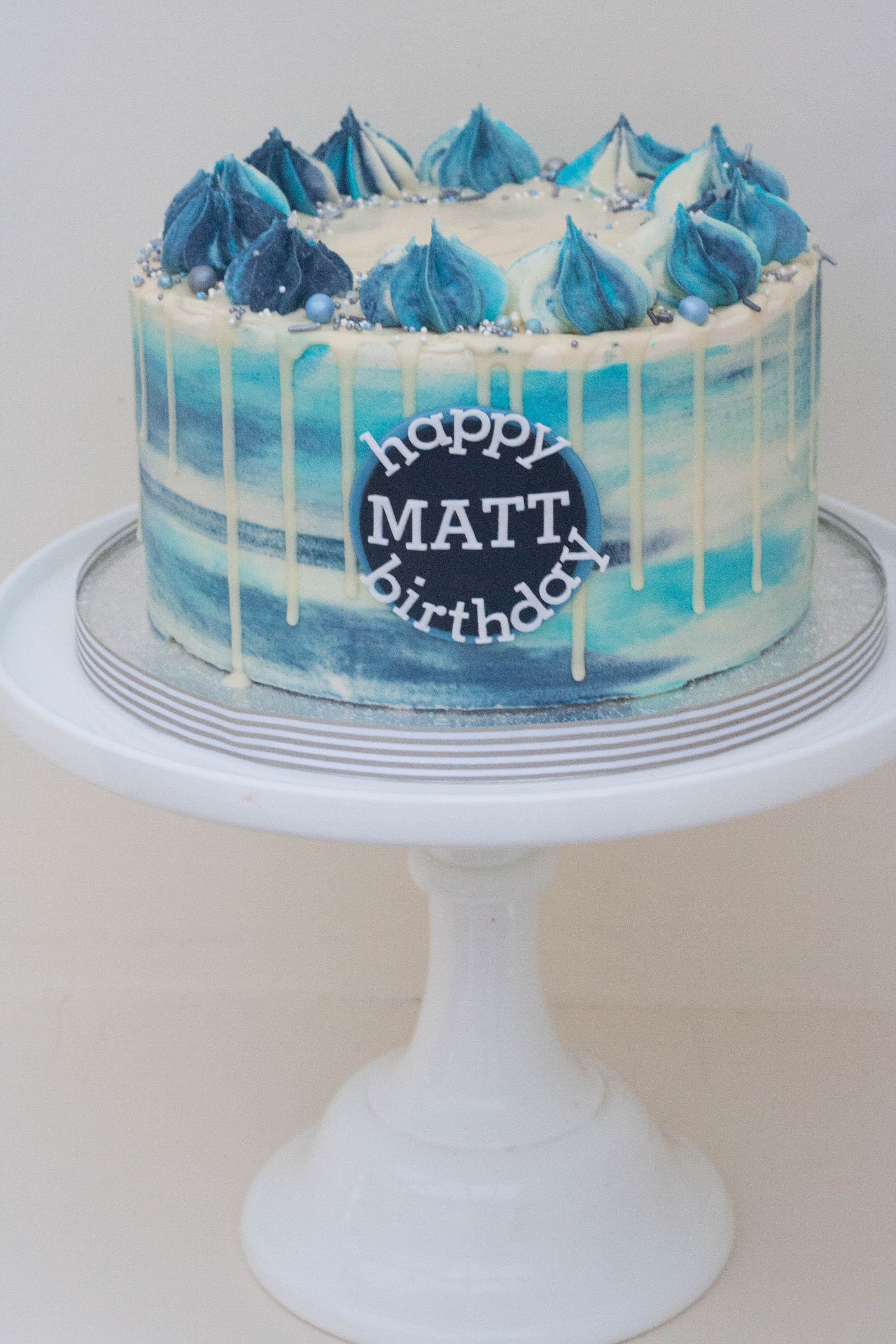 blue watercolour frosted vegan cake