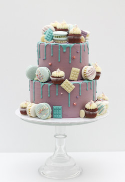 two tier frosted drip macarons mini cupcakes
