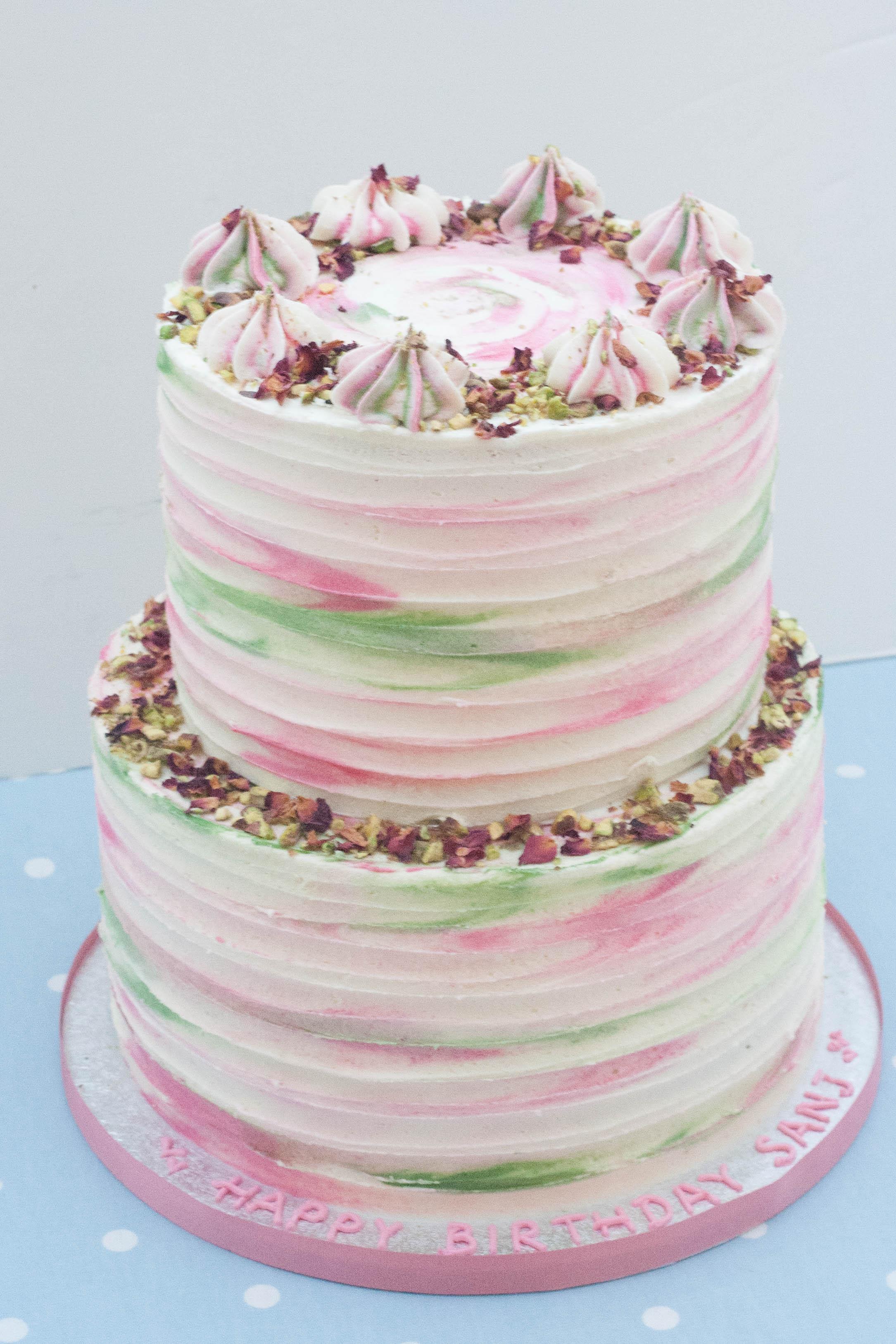 two tier rose pistachio vegan cake tall