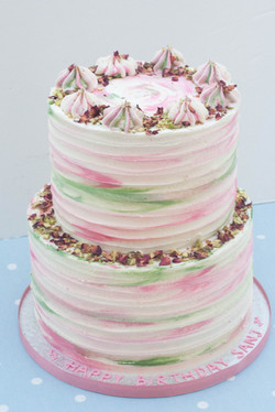two tier rose pistachio vegan cake tall