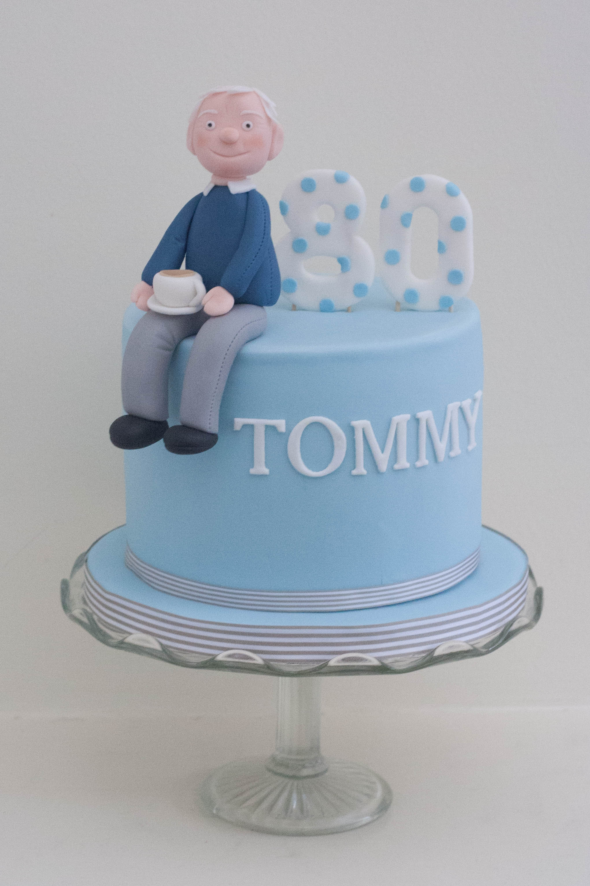 vegan 80th birthday cake with figure