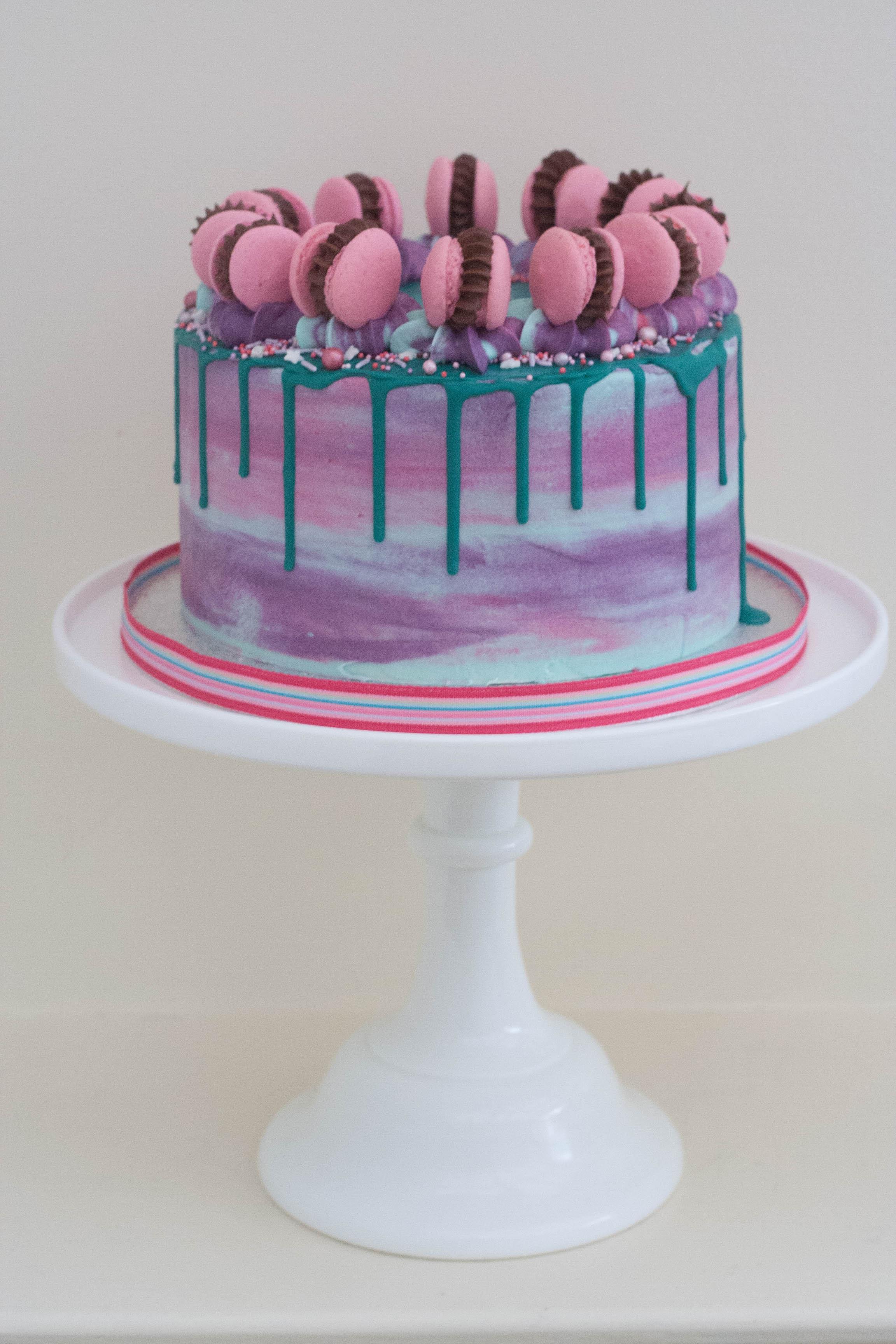 pink purple turquoise vegan cake with ma