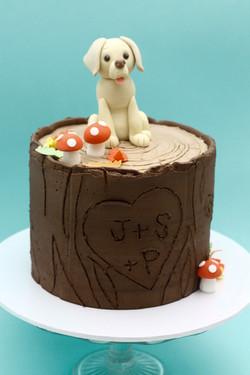 labrador dog tree trunk cake